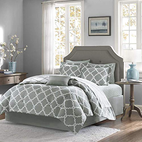 (Qutain Linen 6-Piece Bed in A Bag Complete Comforter Set with Free 4 Piece Sheet Set Included - Over Stock Sale (Gray Galaxy, Full Size))