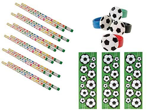 Soccer Party Favor Set for 12 / 1DZ (12) Soccer Pencils / 12 Soccer Sticker Sheets / 12 Rubber Soccer Rings
