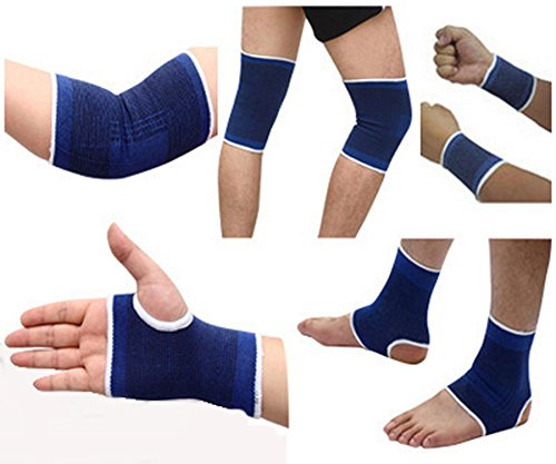 KiHomy Blue Women and Men Fitness gear, ankle/wristbands/elbow pads/ ankle riding gear knee protectors, Support Improves Circulation, Soothes Muscles & Wicks Away Moisture - Elbow Ankle