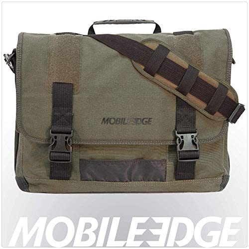 Mobile Edge Laptop Eco Messenger Eco-Friendly, 17.3 Inch Cotton Canvas, Olive Green for Men, Women, Business, Student MECME9