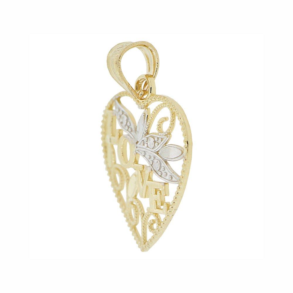 14k Yellow Gold White Rhodium Small Heart Filigree Design Love Pendant Charm Sparkly Cuts