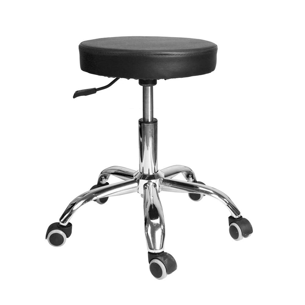 Inkach Round Seat Rolling Hydraulic Height Adjustment Office Chair for Drafting Stool, Salons, Massage (Black) Inkach - Chair IN-1