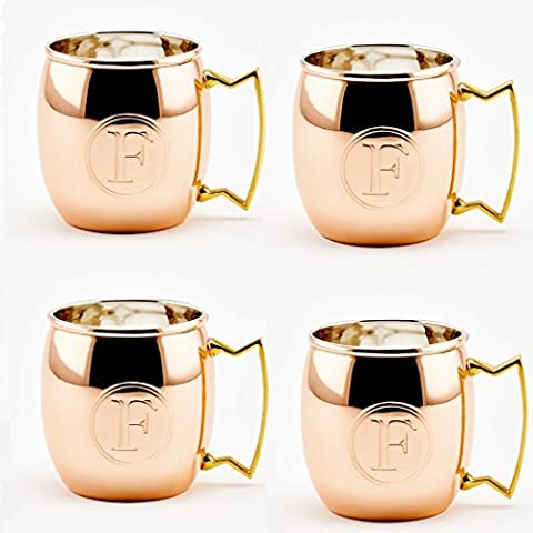 Old Dutch Solid Moscow Mule Mug, 16-Ounce, Monogrammed D, Copper, Set of 4