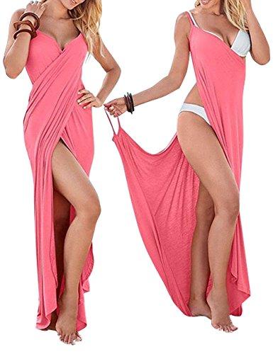 WEHOPS Women's Bikini Wrap Cover Up Spaghetti Strap Backless Beach Dress Shawl L - Destination Swimwear