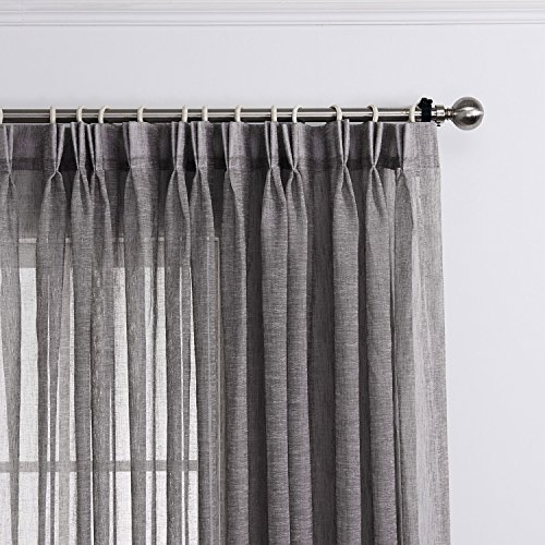 LANTIME Semi Sheer Curtains 84 inches Long, Faux Linen Double Pleated Window Sheer Curtains Panels Drapery for Home, Hotel, Office, Grey, 72 W x 84 L Inch Each, Set of 2