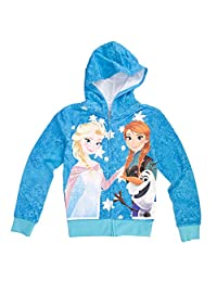 Frozen Group Shot Tweens Blue Hooded Sweatshirt Small