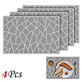 EYGOO Silicone Placemats Crackle Pattern Table Mat Heat Resistant Silicone Mat Waterproof Place Mat for Kitchen Dining Table Decoration (Cool gray, 4PCS)