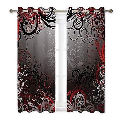 Misscc Decorative Blackout Curtains Black Red