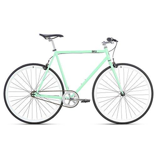 6KU Milan 1 Fixed Gear Bicycle, Mint Green/White, 49cm (Bicycle Single Road Speed)