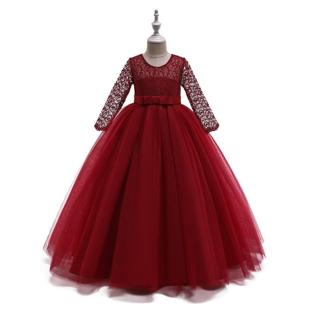 INLLADDY M/ädchen Festzug Stickerei Prom Kleider Prinzessin Hochzeit Kleidung 2-14 Jahre