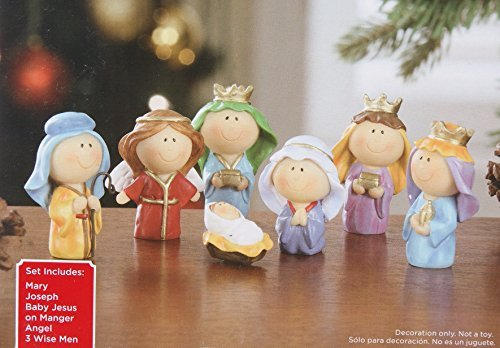 (Cute Mini Christmas Nativity Set with Jesus Mary Joseph Wisemen Angel - 7 Pieces)