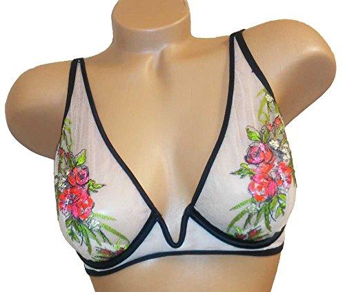 Underwire Bra Demi Floral (Victoria's Secret Designer Col Unlined Demi Underwire Lace Bra Floral Nude 36C)