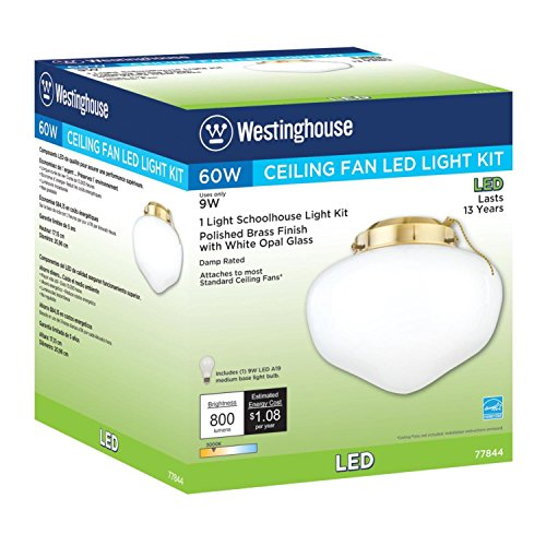 Westinghouse 7784400 LED Schoolhouse Indoor/Outdoor Energy Star Ceiling Fan Light Kit, Polished Brass Finish with White Opal Glass by Westinghouse (Image #2)