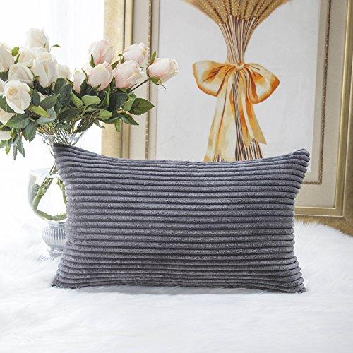 Home Brilliant Decorative Plush Striped Velvet Corduroy Oblong Pillowcase Accent Cushion Cover 12 X 20 Inches 30x50 Cm Dark Grey