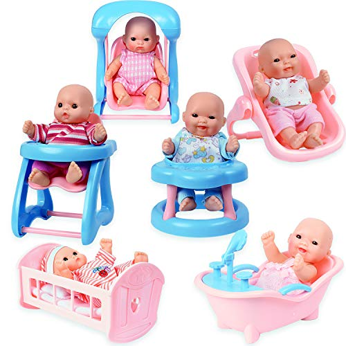 WolVol Set of 6 Mini Dolls for Girls with Cradle, High Chair, Walker, Swing, Bathtub, Infant seat (Baby Little Doll)