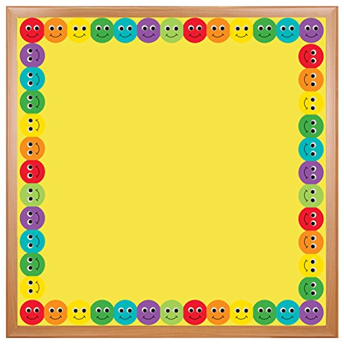 Hygloss Products Smiley Face Bulletin Board Border - Classroom Board Trim - 3 x 36 Inches, 24 Strips (School Time Border Trim)