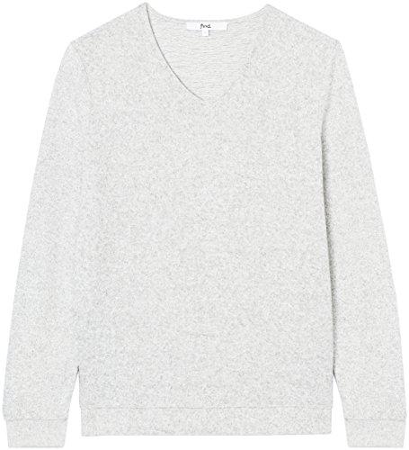 gris Grey Collar À shirt Et Manches Peak Longues Pour Femmes T Fqv4x
