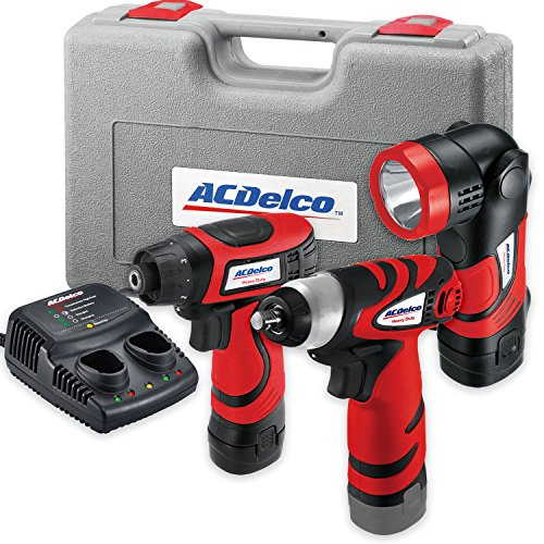 (AcDelco ARD847Li Cordless 8V Li-ion Drill/Driver Impact Wrench Set Combo Kit with Case, LED Work Light, 2-Port Charger, and 2 Batteries)