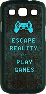 Escape Reality and Play Games - Black Rubber case with flap - for the Samsung« Galaxy S3 I9300 Case