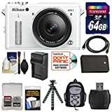 Nikon 1 AW1 Shock & Waterproof Digital Camera Body with AW 11-27.5mm Lens (White) with 64GB Card + Sling Backpack + Battery & Charger + Flex Tripod + Accessory Kit