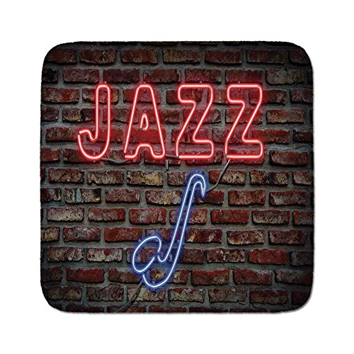 Pads Cushion Area Rug,Music,Image of Alluring Neon All Jazz Sign with Saxophone Instrument on Brick Wall Print Decorative,Red Blue,Easy to Use on Any Surface ()