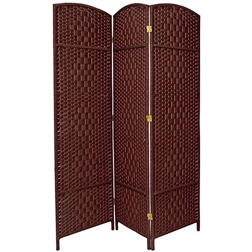 Oriental Furniture Attractive Simple Low Cost Room Partition, 6-Feet Tall Diamond Weave Natural Fiber Folding Screen, Dark Red, 3 Panel Size FB-OPDMND-3P-DRD