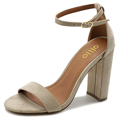 Ollio Womens Shoe Faux Suede Simple Ankle Strap Chunky High Heel Sandals MG33 (7.5 B(M) US, Natural)