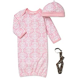 Little Me Pink and White Damask Long Sleeve Gown Hat and No-Throw Tether 0-3 Mth
