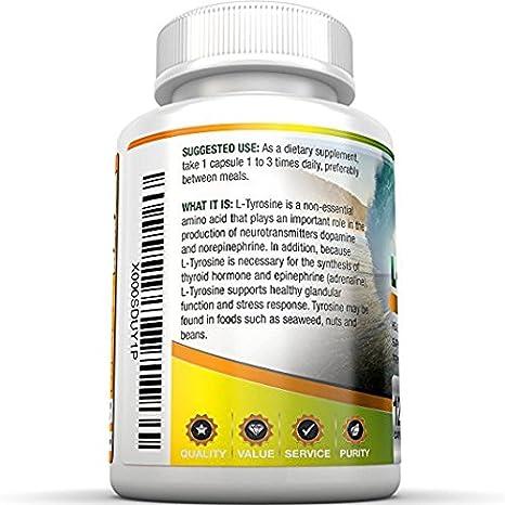 Amazon.com: BRI Nutrición L-Tyrosine – 120 Recuento 500mg ...