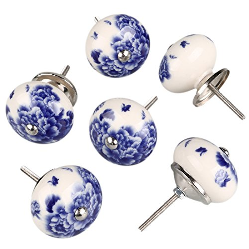 uxcell 6 Pieces Vintage Shabby Knobs White and Blue Floral Hand Painted Ceramic Pumpkin Cupboard Wardrobe Cabinet Drawer Door Handles Pulls Knob, Peony