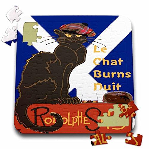 (3dRose Taiche - Vector - Burns Night - Le Chat Burns Nuit Haggis Dram Scottish Saltire - 10x10 Inch Puzzle (pzl_273645_2))