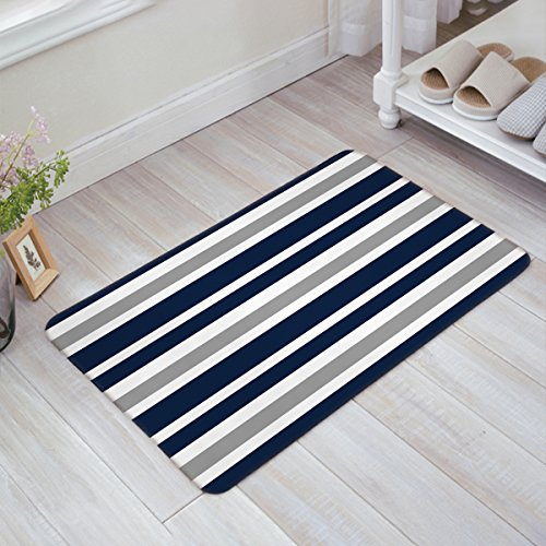 Indoor Doormat Stylish Welcome Mat Navy Blue Grey and White Stripe Entrance Shoe Scrap Washable Apartment Office Floor Mats Front Doormats Non-Slip Bedroom Carpet Home Kitchen Rug 23.6