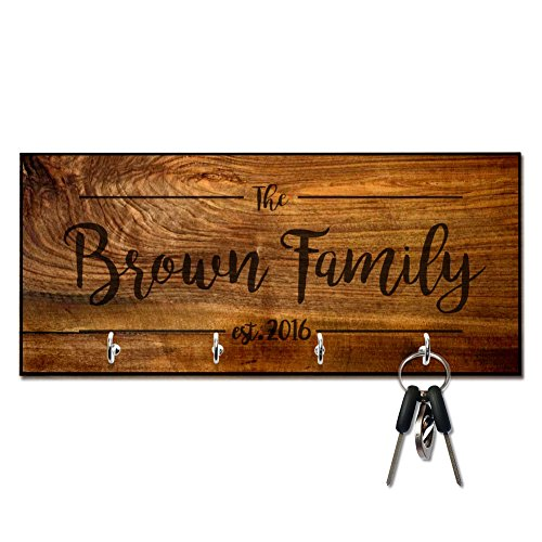 Personalized Rich Wood Look Family Key Hanger