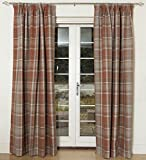 McAlister Textiles Heritage Curtains Tie Back Sash Pair | Designer Thick Wool Feel Tartan Check Burnt Orange Terracotta Bedroom Window Drape Valances Accessories | 30' x2
