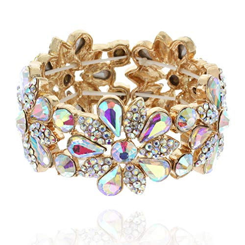 (SP Sophia Collection Women's Floral Austrian Crystal Bangle Stretch Rhinestone Bracelet in Iridescent)
