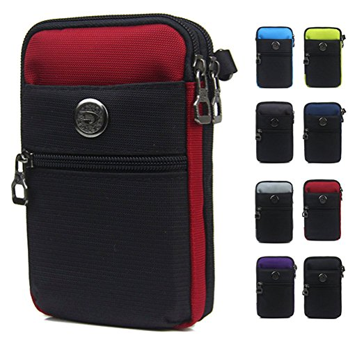 Just Mode(TM)Multifunctional Waterproof Sporty Casual Style Men's Pocket Cellphone Case Waist Bag Wallet Purse Mini Shoulder Bag-Red (Glow In The Dark Skin Iphone 4s)