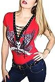Demi Loon Sexy Red Women's Biker Tee | Skull Graphic Angel Wing Corset T-Shirt Top