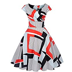Landfox Dress Clothing Shoes Women S Vintage 1950s Retro Short Sleeve Bottoming V Neck Party Prom Swing Dress Red