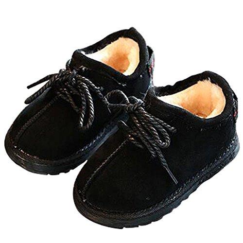 Haodasi Winter Baby Schuhe Kinder Junge Mädchen Anti-Rutsch Leder Wasserdicht Erstes Gehen Beiläufig Schuh 1-6 Jahr Schwarz