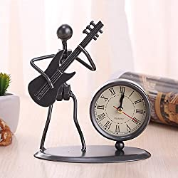 XIDUOBAO House-shaped European Retro Nostalgia Noiseless Alarm office /Table/Bedroom/Desk clock with Arabic Numbers (Retro-Bronze) (Guitar)