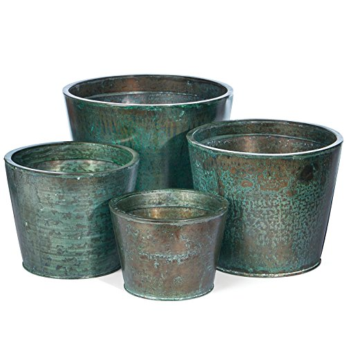Skalny Round Copper Water Tight Steel Planter (Set of 4), 6.75 x 4.75/10.5 x 8.75