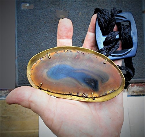 Huge Brass Agate Slice Belt Focal, Hand Crafted Brass Setting 44