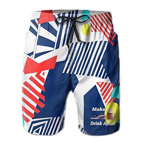 SHORT SOU Make America Drink Again Mens Swim Trunks Casual Quick Dry (Again Mens Boardshorts)