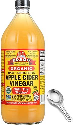 Bragg Organic Apple Cider Vinegar 32 Oz - With The Mother - Usda Certified Organic - Raw - All Natural, W/Measuring Spoon