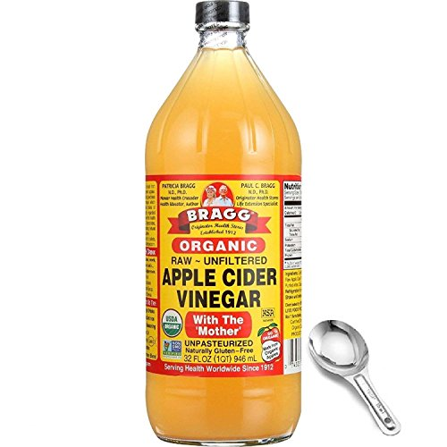 Bragg Organic Apple Cider Vinegar 32 Oz - With The Mother - USDA Certified Organic - Raw - All Natural, w/Measuring Spoon Cider 32 Ounce Bottle