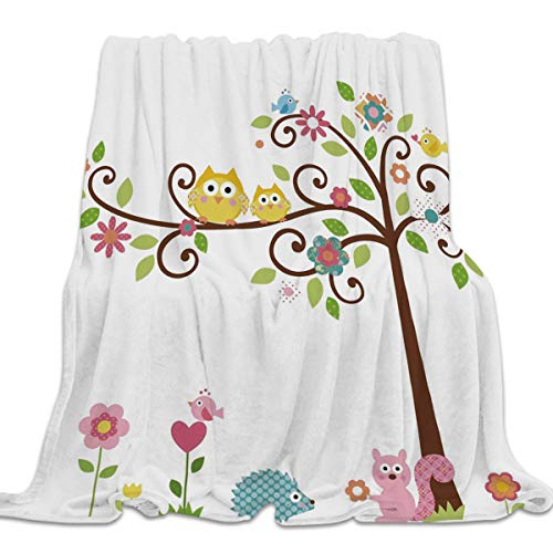 39x49 Inch Flannel Fleece Children Bed Blanket Soft Throw-blankets for Kids Girls Boys,Cartoon Tree Flower Owl Squirrel Printed,Lightweight Blankets for Bedroom Living Room Sofa Couch