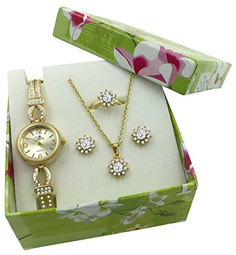 Gold-Watch-Jewelry-Gift-Set-Flower-Shape-Necklace-Earrings-Ring-and-Quartz-Watch-With-Crystals
