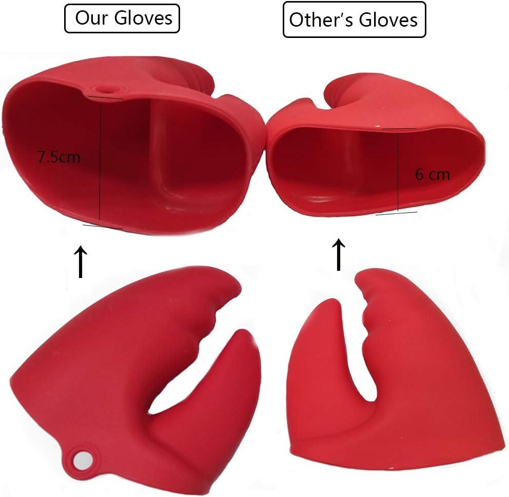 Iwinna Pinces en Silicone avec Pince /à Homard pour casseroles maniques et Gants r/ésistants /à la Chaleur Rouge