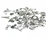 100g (70-80pcs) Mixed Charms Pendants Assorted DIY Antique Charms Pendant(100g mixed Silver)