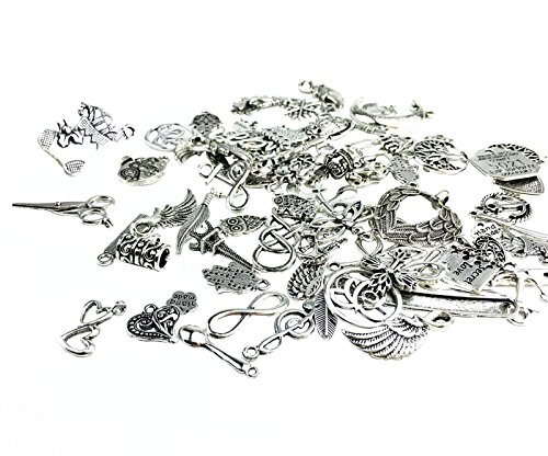 YYaaloa 100g (40-60pcs) Mixed Charms Pendants Assorted DIY Antique Charms Pendant (100g Mixed Silver)